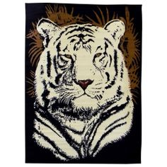 I think i found our bedroom area rug! JKJK Haha  African Adventure White Tiger Head Black Area Rug (5' x 7') | Overstock.com
