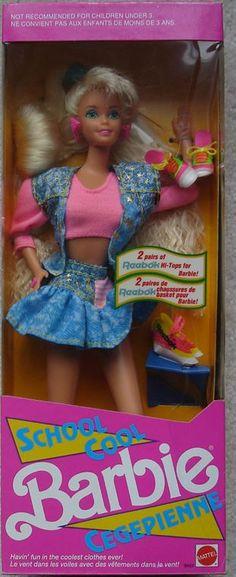 1991 School Cool Barbie Blonde with 2 sets / pairs of Reebok Hi-tops / sneakers for Barbie