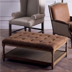 Distressed Leather & Oak Portman Ottoman  - Brown