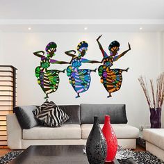 Style & Apply African Art Dancers Wall Decal Sticker Wall Sticker, Vinyl Wall Art, Home Decor, Wall Mural - African Bedroom, African Living Rooms, African Themed Living Room, African Interior Design, African Design, African Style, African Fashion, Vinyl Wall Art, Wall Decal Sticker