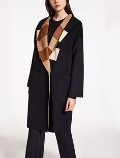Max Mara URAGANO navy: Reversible wool and angora coat.