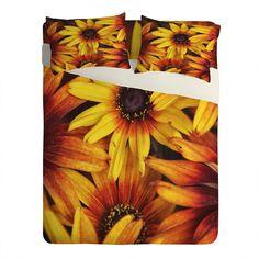 Shannon Clark Sunshine Petals Sheet Set Lightweight | DENY Designs Home Accessories #bedding #orange #yellow #floral #floralhome