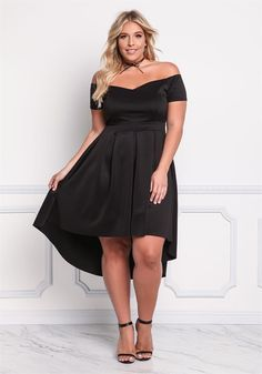 Plus Size Clothing | Plus Size Off Shoulder Pleated Hi-Lo Dress | Debshops