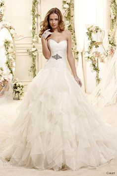 colet bridal 2015 style 39 coab15321iv sweetheart strapless a line handkerchief tiered wedding dress