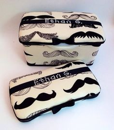 Great for unique baby shower gifts! decor for nursery rooms and cute travel case. Wipe case Trendy mustache for boy personalized with by MiniMeLove