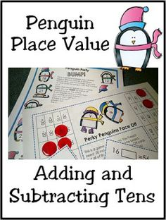 Click on this post for winter place value activities for first grade, plus a free penguin math bump game for adding ten! #firstgradeplacevaluegames Third Grade Math Games, Kindergarten Math Games, Literacy Games, Fourth Grade Math, Fun Math Games, Learning Games, Maths, Math Place Value, Place Values