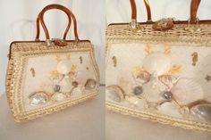 Vintage 1950s Handbag / 50s Basket Purse / Window Basket Handbag / Seashell Straw Purse / 1950s Summer Purse / Atlas by RockabillyRavenVtg on Etsy