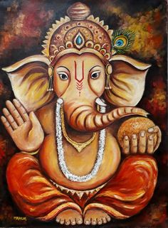 Buy Ganesha, an Oil Painting on Canvas, by Mahua Pal from India, For sale, Price is $240, Size is 24 x 18 x 0.1 in.