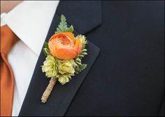 Orange ranunculus and hops boutonniere wrapped in twine. Orange Boutonniere, Ranunculus Boutonniere, Groomsmen Boutonniere, Groom And Groomsmen Attire, Wedding Boutonniere, Hops Wedding, Wedding Trellis, Floral Wedding, Boyfriends