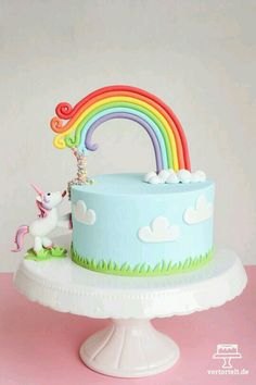 Imagem de unicorn, cake, and rainbow