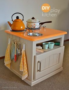 DIY Colorful Play Kitchen made from a old Nightstand.