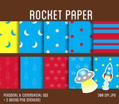 Rocket  Digital Paper Pack PLUS 2 Bonus Stickers by squigglegiggle, $5.00