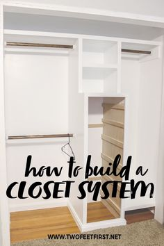 Do you have a small closet that you want to add more space or have it organized better? I have the solution for you and it's cheap! Use this DIY tutorial on how to build a closet system with drawers. Cheap Closet, Closet Redo, Closet Drawers, Build A Closet, Master Bedroom Closet, Small Closet Makeovers, Diy Closet Ideas Cheap, Diy Bedroom, Master Suite