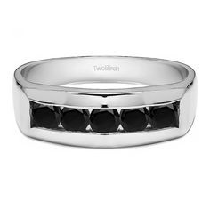 TwoBirch Sterling Silver Black Cubic Zirconia Men's Wedding Fashion Ring (Two Tone Sterling Silver, Size 8), Two-Tone