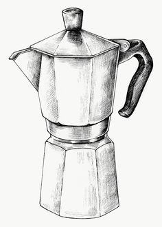 Hand drawn moka pot | free image by rawpixel.com / Noon #picture #photography #inspiration #photo #art #drawing #digitaldawing #sketch
