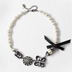 Simply Vera Vera Wang Jet Simulated Pearl & Simulated Crystal Flower Necklace