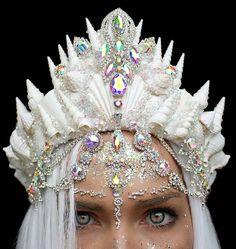 WEBSTA @ chelseasflowercrowns - Sneak peak thank you for my mermaid sparkles . Seashell Crown, Mermaid Crown, Crystal Crown, Circlet, Fantasy Jewelry, Tiaras And Crowns, Hair Jewelry, Jewellery, Headdress