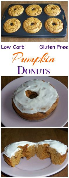 These low carb gluten free pumpkin cake donuts are made with peanut flour and topped with a sweet sugar free icing. Low Carb Yum Keto Banting Breakfast Dessert Recipe