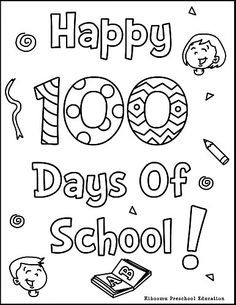 100th Day Of School Printable Coloring Page And Song Preschool