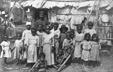 Puerto Rican ex-slaves:  When Spain sent Ponce de Leon to Puerto Rico, the Spaniards brought diseases to which the indigenous people did not have immunity.  Almost all of them died.  Spain brought slaves from Africa to the island to mining gold and sugar.