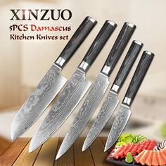 Home Chef Stainless Steel Kitchen Set Damascus Steel Kitchen Knives, Damascus Steel Chef Knife, Damascus Chef Knives, Damascus Knife, Damascus Blade, Japanese Kitchen, Japanese Chef, Chef Knife Set, Knife Sets