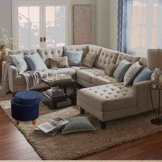 Transitional Living Room Design Ideas - Browse transitional living room embellishing ideas and also furniture designs. Discover design motivation from a range of transitional living rooms, including color, . Grey Sectional, Living Room Sectional, Living Room Grey, Home Living Room, Apartment Living, Living Room Designs, Living Room Furniture, Beige Couch, Leather Sectional Sofas