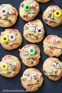 Zombie chocolate chip cookies, fun, easy Halloween food idea. Super creepy and spooky, but delicious! Small batch chocolate chip cookies.