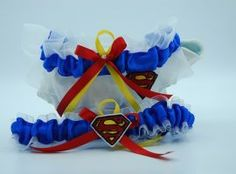 Superman themed garter set. Garter Set, Wedding Garters, Superman, Outdoor Decor, Home Decor, Decoration Home, Room Decor, Home Interior Design, Home Decoration