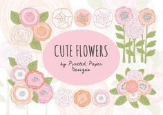 Flowers Digital Clip art CUTE FLOWERS by PixeledPaperDesigns, $3.85