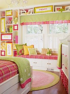 girl room.  love the shelves on the wall.  what a good use of space!