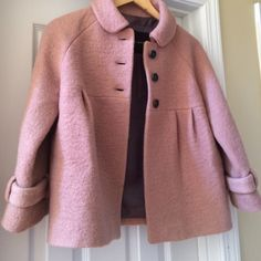 Zara pink crop jacket Very cute crop pink jacket by Zara three-quarter length sleeve button-down front very unique. In great condition. Zara Jackets & Coats Pea Coats