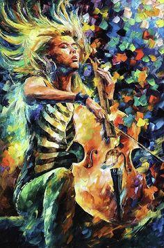 Rhapsodie by Leonid Afremov - cellist #cello