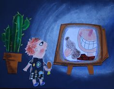 TV hypnosis mixedmedia art, cllage, oil pastels