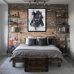 40 The Best Industrial Small Bedroom Design And Decoration Ideas - Almost everyone today is a fan of the rustic style of interior design and décor. This theme is also known by many other names like cottage, country si. Bedroom Loft, Blue Bedroom, Trendy Bedroom, Bedroom Apartment, Bedroom Decor, Bedroom Ideas, Bedroom 2018, Warm Bedroom, Bedroom Simple