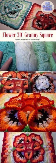 Flower 3D Crochet Granny Square - #crochet #freepattern #flowers