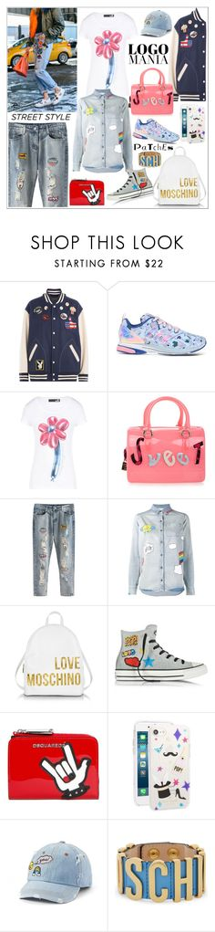 """""""STREET STYLE: LOGOS & PATCHES!!!"""" by kskafida ❤ liked on Polyvore featuring Marc Jacobs, adidas, Love Moschino, Furla, Mira Mikati, Converse, Dsquared2, Kate Spade, SO and Moschino"""