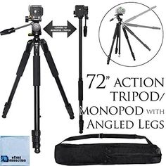 72Inch Elite Series Professional Heavy Duty Convertible Camcorder TripodMonopod For Canon VIXIA HF G10 G20 G30 M40 M400 M50 M52 M500  More  Microfiber Cloth *** Continue to the product at the image link.