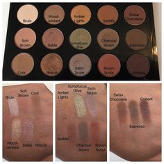 MAC eyeshadow swatches on dark skin (brule, soft brown, cork, woodwinked, sable, bronze, amber lights, sumptuous olive, satin taupe, saddle, charcoal brown, brown script, swiss chocolate, espresso, embark)