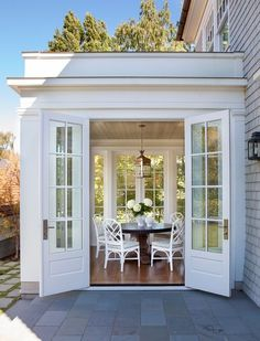 Sunroom with French Doors. Lovely Sunroom with French Doors. Outdoor Dining, Indoor Outdoor, Dining Area, Outdoor Rooms, Sunroom Addition, Family Room Addition, Coastal Homes, My Dream Home, Future House