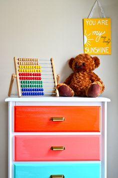 Lovely Beautiful Dresser Complementing Your Bedroom Interior: Rainbow Dresser DIY ~ kateobriens.com Furniture Inspiration