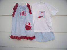Crab Applique Sibling Set/ Crab Applique by Lizzyraesboutique, $65.00