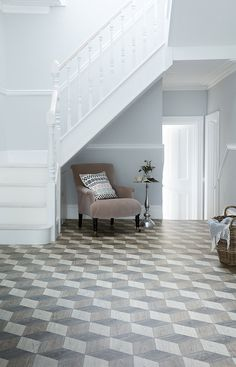 Discover the Eros Seale Vinyl from Tapi, a multi-tonal wood effect flooring featuring an strong geometric pattern, making for an adventurous addition to your home décor. Carpet Flooring, Vinyl Flooring, Shades Of Grey, 3d Design, Carpet Fitters, Hallway Inspiration, 1930s House, Stair Lighting, Circular Mirror