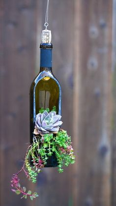 Wine bottle with a side cut and hole for drainage, perfect for succulents!
