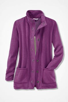 NEW! Colorwashed Fleece Snap Cardigan, Currant