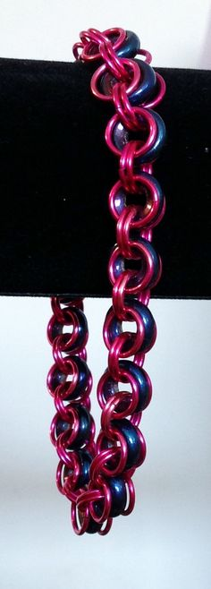 Hot Pink and Blue 2 in 2 Chainmaille Bracelet