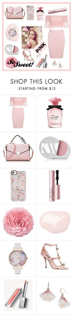 """Carnation Beauty"" by tysonishere ❤ liked on Polyvore featuring Dolce&Gabbana, Kjaer Weis, Whiteley, Casetify, Too Faced Cosmetics, Saro, Olivia Burton, Burberry and Carolee"