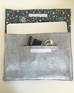 Protect your laptop in this modern-looking Easy DIY Laptop Case, which is made with wool felt and accented with a cotton fabric lining. Your laptop will be styling with this easy sewing project. The floral lining of the laptop case shown here brings a touch of fun to the sophisticated gray wool. Store all of your accessories in the zipper-free pocket for easy access.