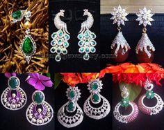 Jewellery Designs: Simple Chandbalis in Diamonds Gold Diamond Earrings, Sapphire Earrings, Diamond Studs, Gemstone Earrings, Ring Earrings, Heavy Earrings, Silk Thread Bangles, Thread Jewellery, Cute Jewelry
