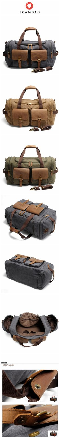 Vintage Canvas Messenger Bag Big Travel Bag ********************************************** We use selected thick genuine cow leather, quality canvas material, anti-rust hardware and cotton fabric to m