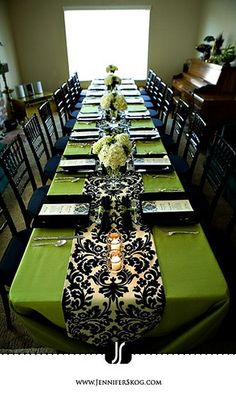Green and Black damask table decor